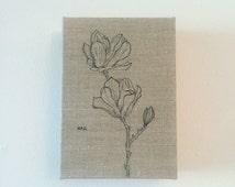 Botanical Sketch on Linen No. 2 Magnolias