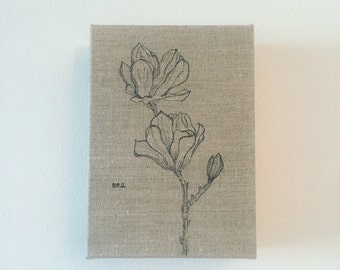 Pen & Ink on Linen No. 2: Magnolias