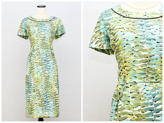1960s Turquoise Printed Cocktail Dress - Vintage Turquoise Wiggle Dress and Jacket - Jack Liebman Size M
