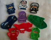 PJ Masks Set of 9 Finger Puppets Felt Toys Kids Toys Pretend Play Machine Embroidery Toddlers Preschool Day Care Supplies Toys Kid Children