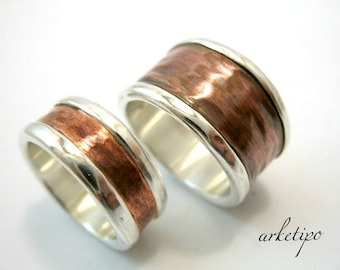 Wedding Ring Set - Personalized sterling silver and copper .. Men's / Women's Bands.. Handmade.. Hammered