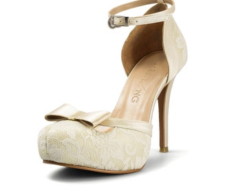 Donna Beige Lace Heels, Off-White Lace Strappy Heels, Beige Lace Bridal Heels, Ivory Bridal Shoe with Bow, French Lace Bridal Heel