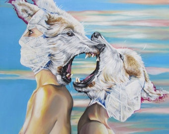 I'll Hide in Death a While ~~ signed giclee fine art by Alexis Price *wolves pop surrealism*