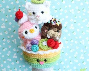 Sundae Morning Amigurumi Food Crochet Pattern Ice cream Cup/ Animal Sundae/ Polar bear-Penguin-Walrus!!!