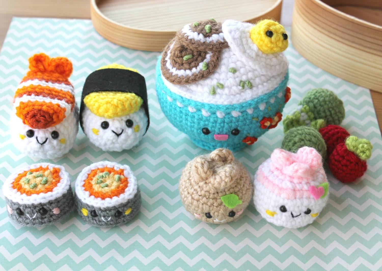 Amigurumi Food Sushi : Amigurumi Food Bento Family Crochet Pattern/ Sushi Set