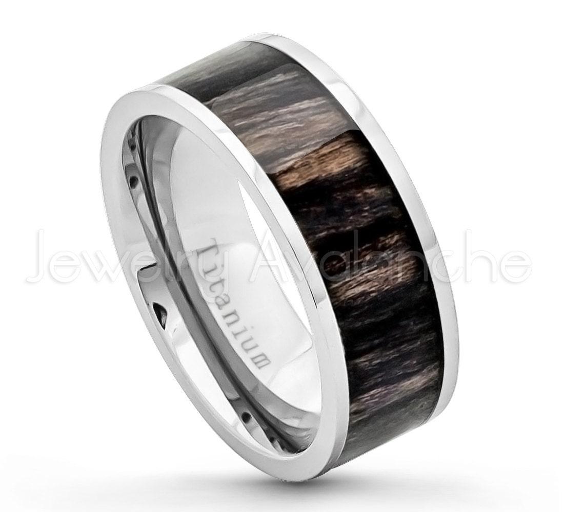 African Blackwood Bands: 9mm Pipe Cut Titanium Ring Comfort Fit Titanium Wedding Band