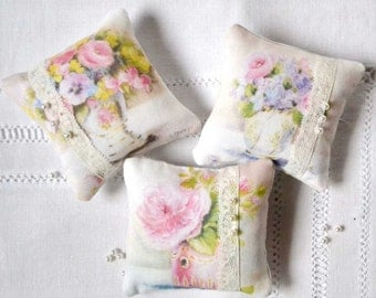 Shabby chic French floral fabric scented bags kit cottage chic easy to sew kit