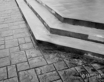 Fine Art Print, Old Church Stairs, Minimalistic Decor, Architecture Photography, Black and White.