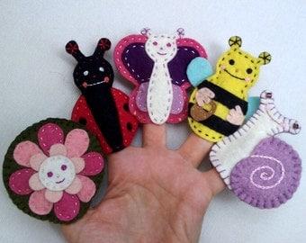 Meadow animals finger puppets,  Felt animals, Felt puppets - pink / purple