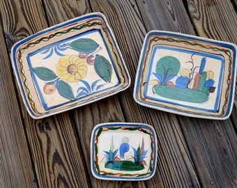 Vintage Old Mexican Folk Art Pottery Rectangle Dishes