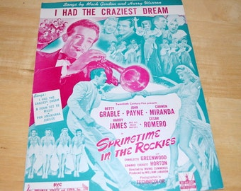 "Vintage Sheet Music For "" Springtime In The Rockies "" 1942"