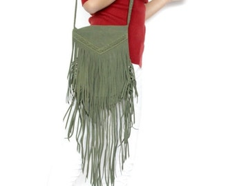 ON SALE Boho fringe bag in khaki , Leather fringe bag , suede fringe bag