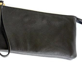 Sale 20% Black Leather wallet , black clutch wallet , Leather clutch with strap , Women's wallet, Wallet with strap, Oversized wallet