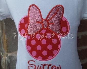 Minnie Mouse Shirt, Personalized Disney Shirt, Girls Minnie Shirt, Mouse Ears Shirt, Applique Shirt