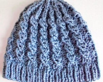 Chunky Knitting Pattern Hat Mock Faux Cable Hat