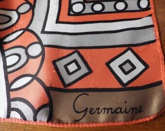 "1960s Vintage Germaine Square Scarf Orange Gray Brown Geometric 25"" Square"
