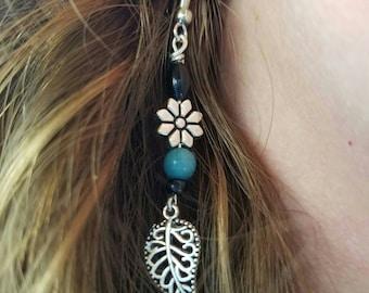 Leaf and Flower Earrings - Nickel Free Teal and Silver Silver Leaf Earrings - Hypoallergenic Earrings