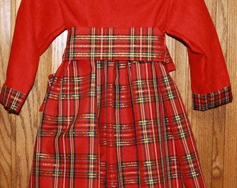 size 2T dress with red suede bodice and classic crisp red plaid skirt