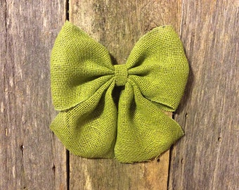 Light green Burlap Bow, Spring