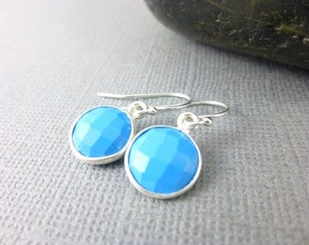 Turquoise Throat Chakra Earrings Framed Turquoise & Sterling Silver Dangles, Small Everyday Earrings Healing Chakra Jewelry, Gift for Her