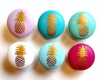 Gold Pineapple Drawer Knob, Custom Pineapple Drawer Pull, Pineapple Decor, Gold Pineapple