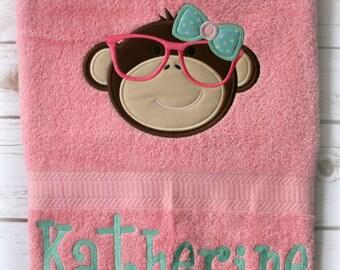 Toddler Monkey Towel-Girls Personalized Bath Towel-Birthday Gift Towel-Smart Monkey-Beach Towel-Pool Towel