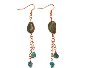 Shakti Earrings with African Turquoise, in rose gold- turquoise dangle earrings- african turquoise- Mother's Day Gift
