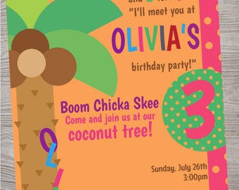 Coconut tree birthday party baby shower invitation. printable. digital download