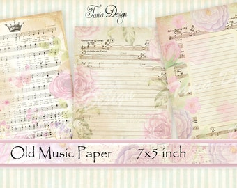 Antique French Floral Sheet Music  5 x 7 inch Instant Download digital collage sheet  Vintage Sheet