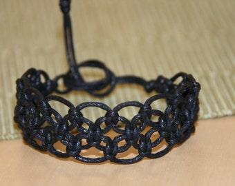 Black macrame bracelet, hemp lace bracelet