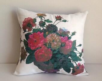 Roses pillow cover SALE Vintage floral linen decor Cushion