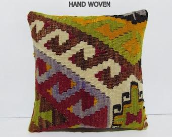 HAND WOVEN hippie kilim pillow moroccan style cushion furniture pillow cover retro cushion cover sitting pillow case brown pillow sham D206