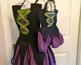 LIttle Witch Child's Apron, Witch Apron, Child's Witch Costume, Halloween Apron