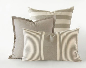 Set of 3 light taupe decorative pillow covers - striped and plain cushion covers - 16x16 inches + 18x18 inches + 20x12 inches, neutral decor