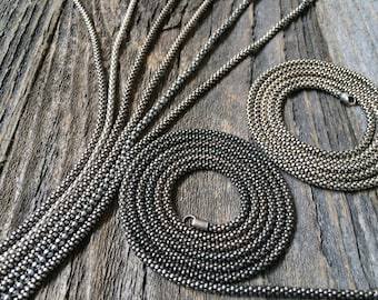 "Vintage Popcorn Sterling Silver Chain // Antique Coreana // Oxidized Weathered Elegant Chains 18"" & 19' inches 2.8 mm 2.9 mm 2.8mm 2.9mm"