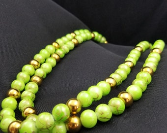 Green and Gold  Bead Necklace