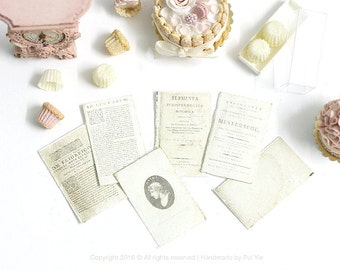 Dollhouse Miniature Accessories-Set of SIX(6) Loose Vintage Shabby Chic Letters/Papers Documents