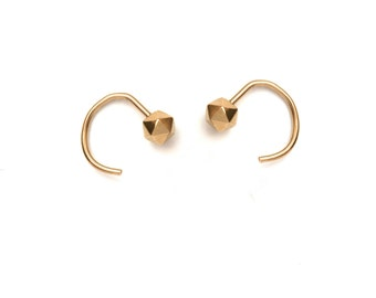Icosahedron Silver or Gold Ear Cuff Studs