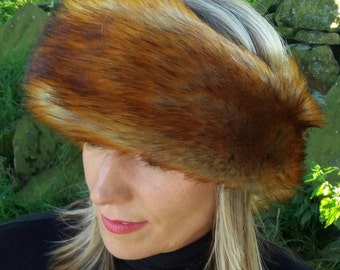 Long Faux Fox Fur Headband / Neckwarmer / Earwarmer Handmade in Lancashire England