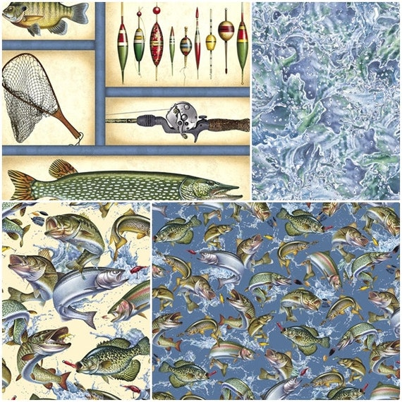 Reel it in fishing cotton fabric by quilting by for Fish fabric for quilting