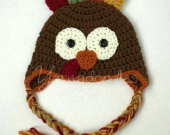 Crochet Turkey Hat Beanie Baby Newborn Infant Child Teen Adult Thanksgiving