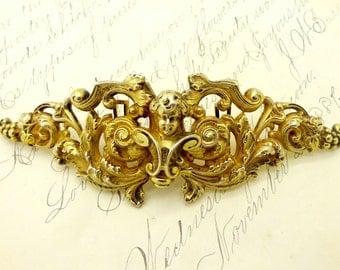 Antique Wm. Kerr STERLING BELT BUCKLE Victorian Gilt Vermeil Sterling Silver Art Nouveau Cherub Putti Sash Style Belt Buckle