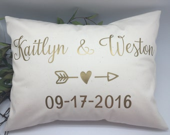 Personalized Wedding Date pillow, gold name date pillow, anniversary gift, decorative pillow 12x16