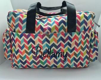 Multi Chevron diaper bag personalized / monogram bag, baby girl, personalized baby gift, girl diaper bag, custom personalized diaper bag