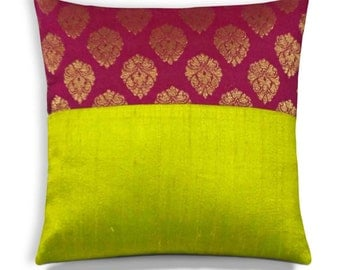 Olive Magenta Gold Pure Silk Pillow Cover - Woven Gold and Magenta Silk Cushion Cover - Decorative Throw Pillow 10x10 Inch
