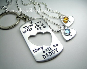Two Daughters, Personalized Handstamped Daddy daughter  - These two girls stole my heart, daddy father's day