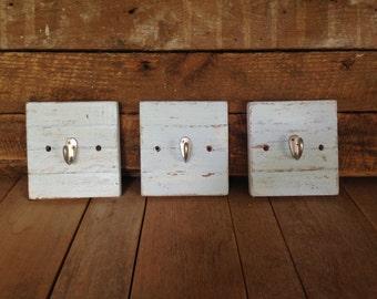 Set of Three Hallway Hooks, Reclaimed & Distressed