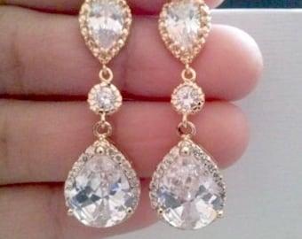 Cz gold tear drop bridal earrings,cubic zircina gold cz earrings,bridal tear drop earrings,weddings earrings,bridal jewelry,bridesmaid gift