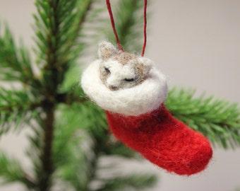 Needle Felted Christmas Cat Decoration,Christmas Stocking,Unique,Needle Felt Ornament,Felting,Felt Cat,OOAK