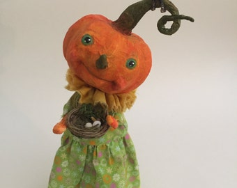 Pumpkin Doll Folk Art Inspired OOAK Paper Mache Halloween Pumpkin Art Doll Crow Nest Eggs